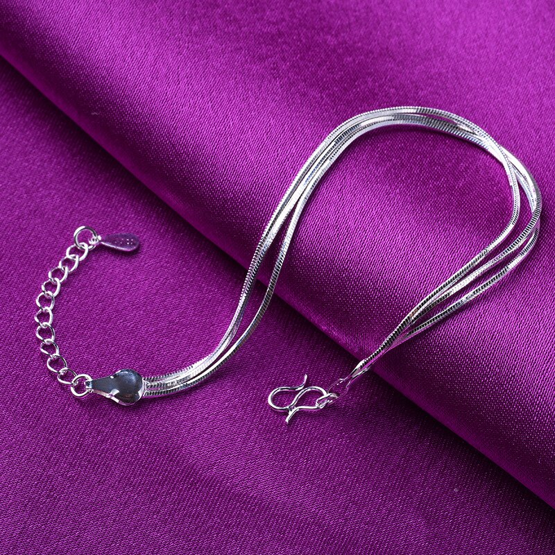 925 Sterling Silver Multilayer Snake Chain