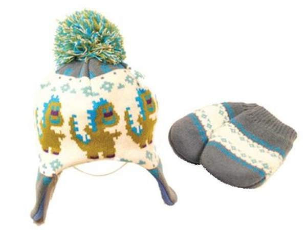 Baby Fashion Accessories Dino Nepal Wool Hat & Mittens (One Size) - Blue/Green