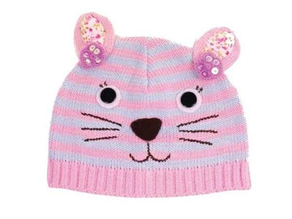 Baby Fashion Accessories Little Bunny Wool Beanie (One Size) - Pink/Blue