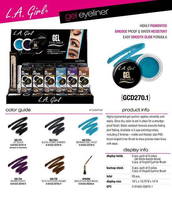 La Girl Makeup LA Girl Gel Eyeliner - Black Cosmic Shimmer