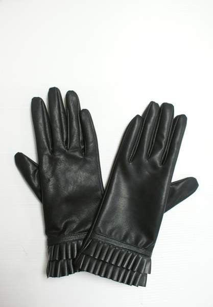 NZ Made Fashion Accessories Frill Cuff Pu Gloves (Medium) - Black