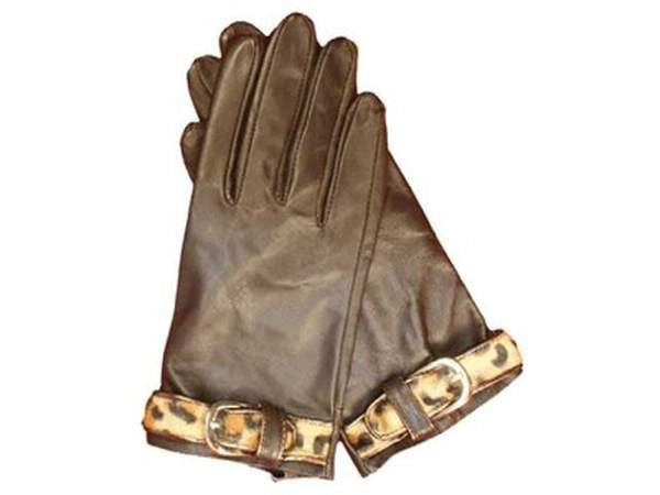 NZ Made Fashion Accessories Leopard Thin Belted Gloves 100% Leather (Medium) - Brown