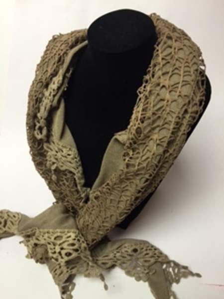 NZ Made Fashion Acessories Vintage Lace Scarf - Brown