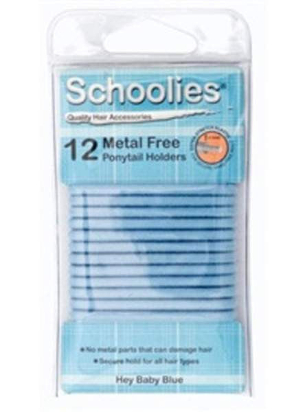 Schoolies Hair Accessories Baby Blue - Metal Free Hair Ties (12)