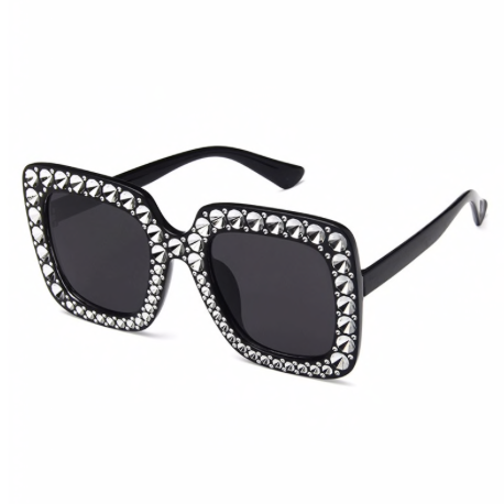 Oversized Diamond Sunglasses - Black - NULABoutique