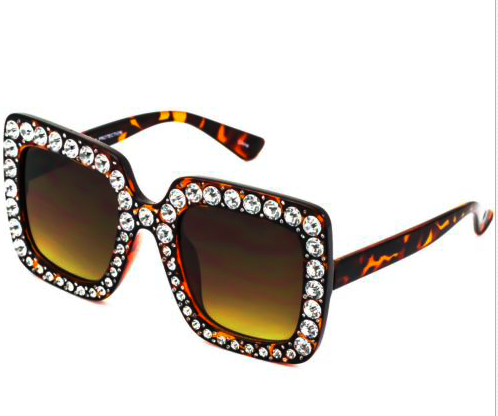 Oversized Diamond Sunglasses - Leopard - NULABoutique