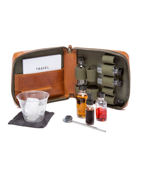 Leather Travel Cocktail Kits