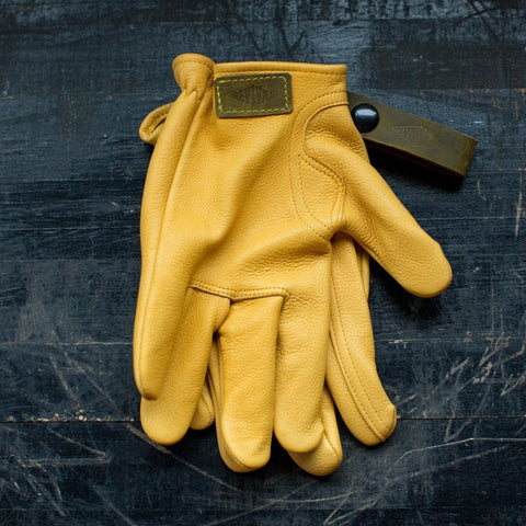 REVIVAL Ranch Road Deerskin Riding Gloves - Yellow - City Limit Moto