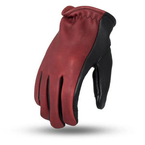 "First Manufacturing ""ROPER"" 2-Tone Black/Oxlood Gloves - City Limit Moto"