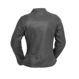 "First Manufacturing ""ZENA"" Women's Leather Jacket - Grey - City Limit Moto"