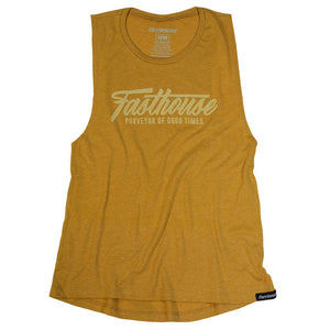 "Fasthouse ""FAST SCRIPT"" Women's Tee Shirt - Vintage Gold - City Limit Moto"