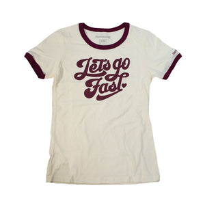 "Fasthouse ""LET'S GO"" Women's Ringer Tee - Natural/Maroon - City Limit Moto"