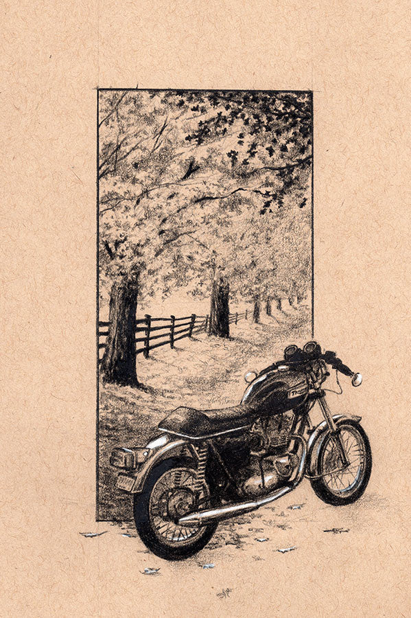 "Iron And Oil Artwork - ""Fall Triumph"" - City Limit Moto"