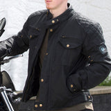 "Merlin ""Barton"" Wax Jacket - Black - City Limit Moto"