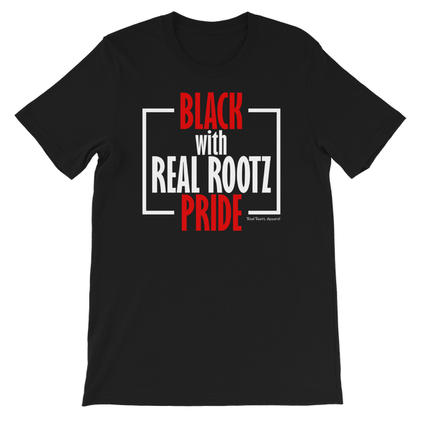 """Black Pride"" Women's T-Shirt (Red and White Lettering)"