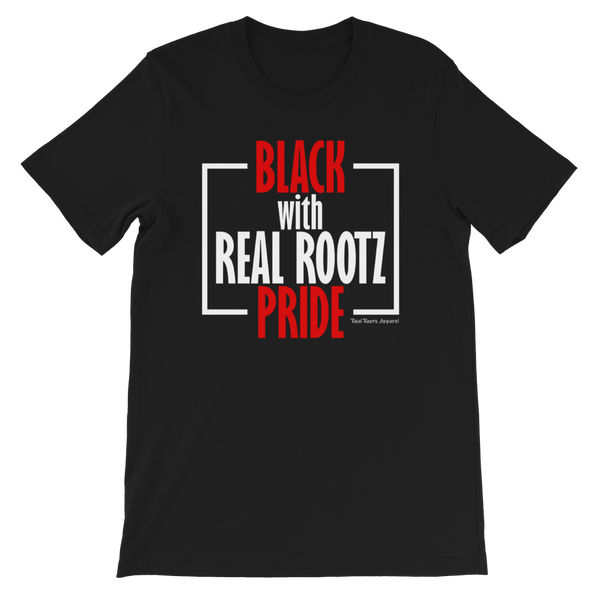 """Black Pride"" Men's T-Shirt (Red and White Lettering)"