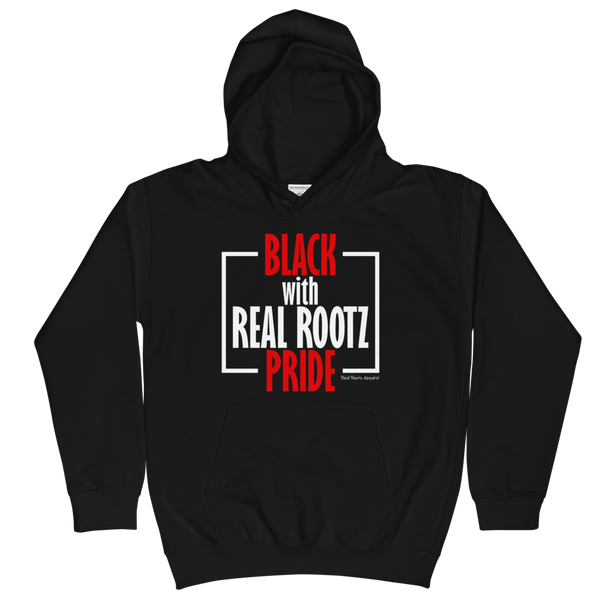 """Black Pride"" Youth Hoodie (Red and White Lettering)"