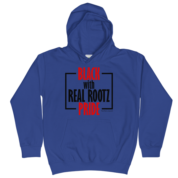 """Black Pride"" Youth Hoodie (Red and Black Lettering)"