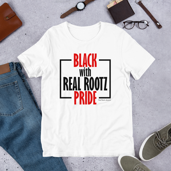 """Black Pride"" Women's T-Shirt (Black and Red Lettering)"