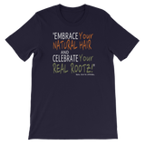 """Embrace and Celebrate"" Women's Short-Sleeve Unisex T-Shirt (White Lettering)"