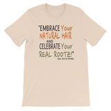 """Embrace and Celebrate"" Men's Short-Sleeve Unisex T-Shirt (Black Lettering)"
