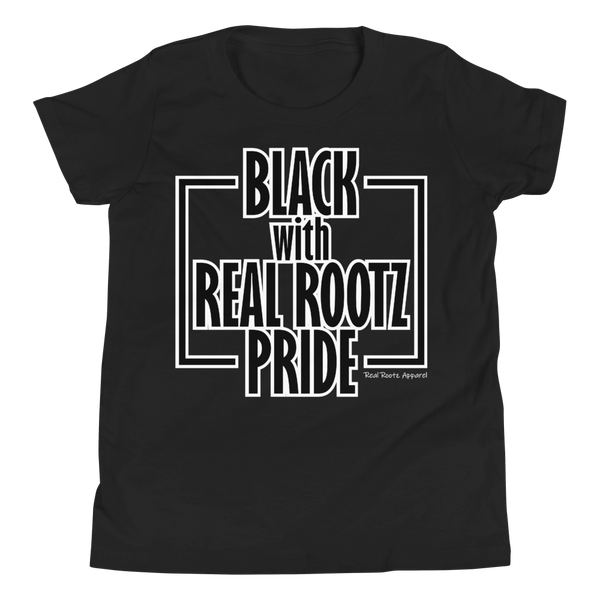 """Black Pride"" Youth T-Shirt (Black and White Lettering)"