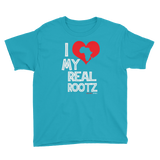 """I Love My Real Rootz"" Boys Short Sleeve T-Shirt (White Lettering)"