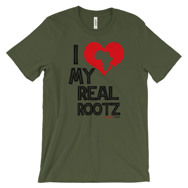 """I Love My Real Rootz"" Men's Unisex T-Shirt (Black Lettering)"