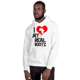 """I Love My Real Rootz"" Men's Hoodie (Black Lettering)"