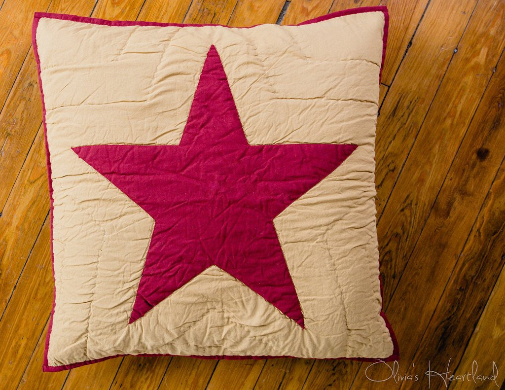 Burgundy Quilted Star Euro Sham