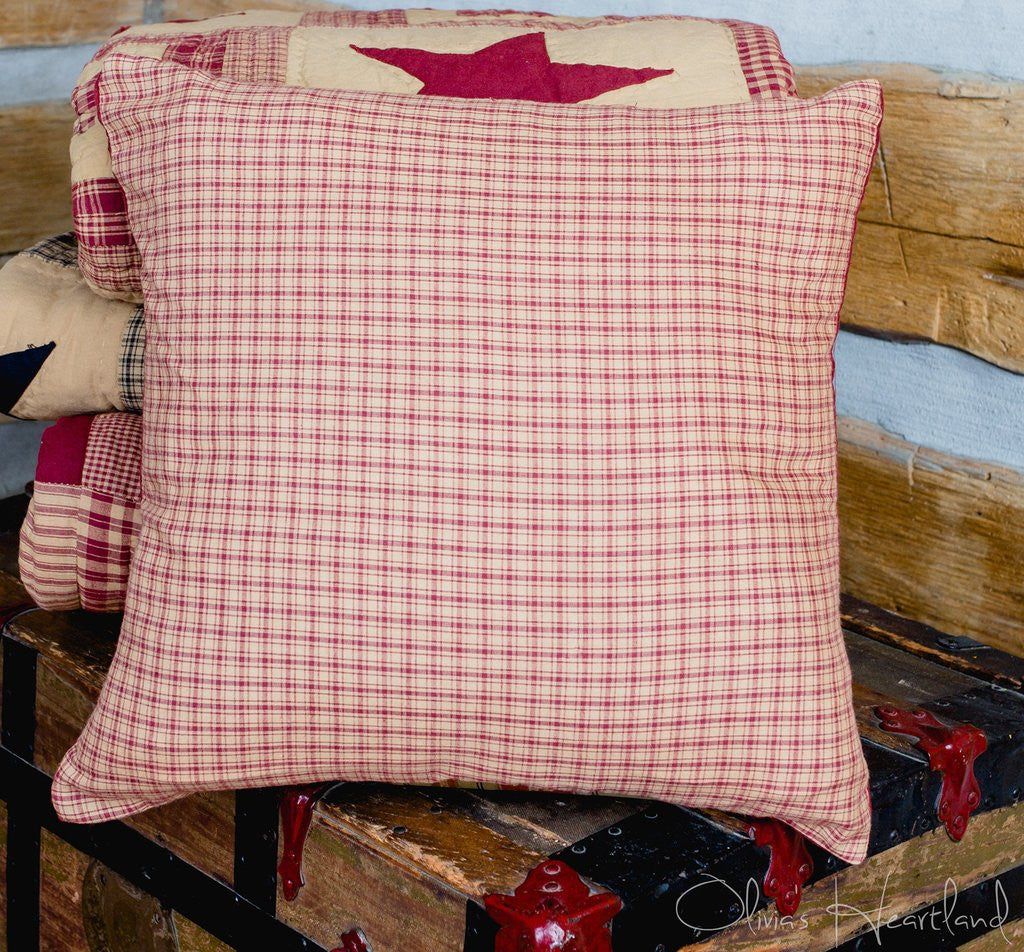 Colonial Star Burgundy and Tan Checked Pillow Cover