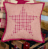 Colonial Star Burgundy and Tan Quilted Pillow Cover