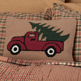 Hooked Red Truck Pillow