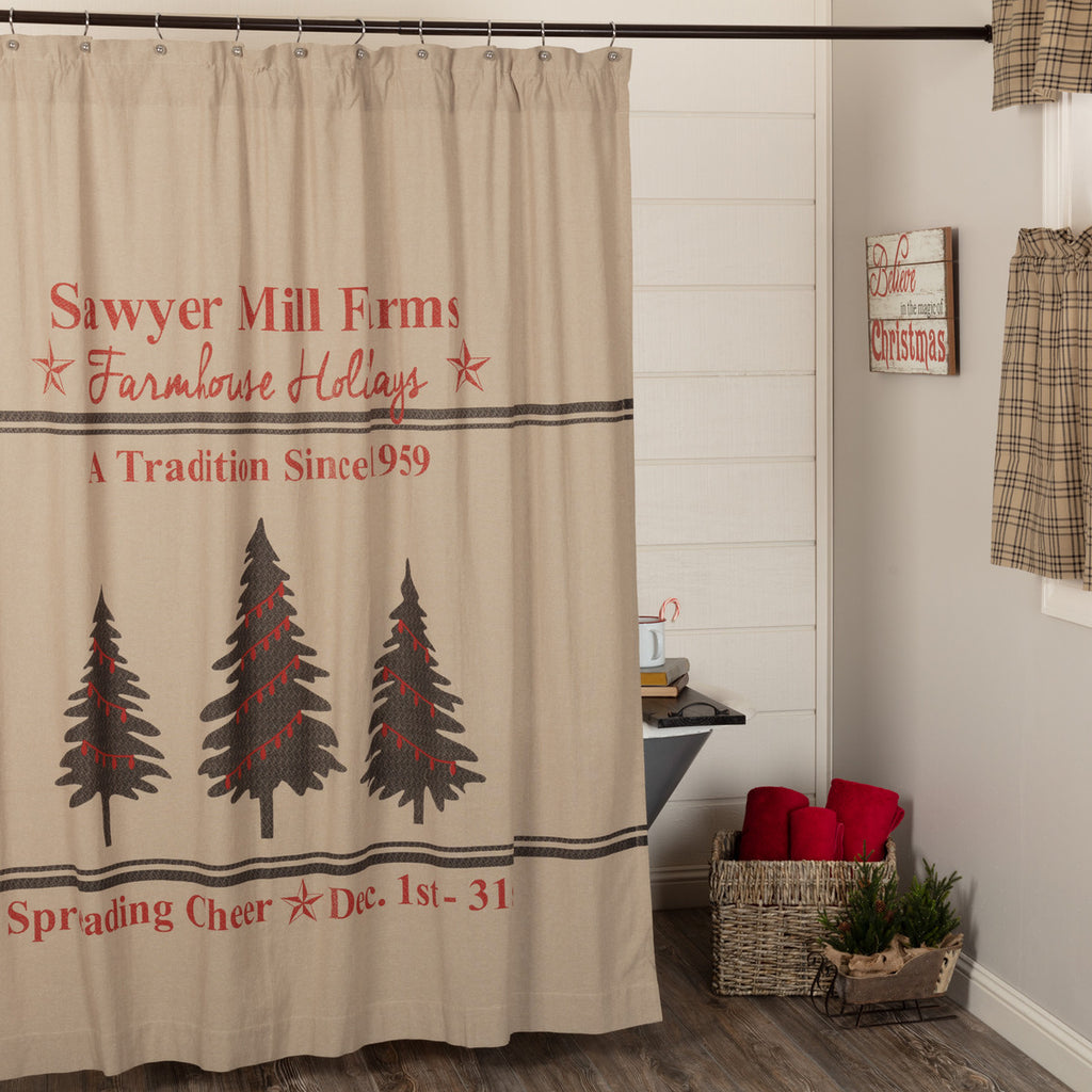 Sawyer Mill Holiday Trees Shower Curtain