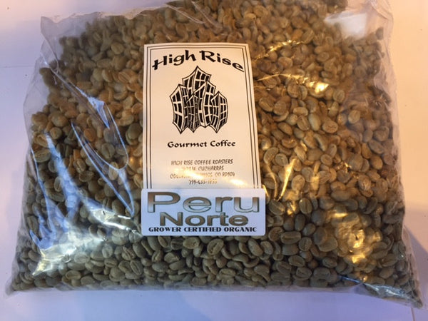 High Rise Coffee Roasters Colorado Springs, CO  - green bean - 3lb of unroasted Organic peru norte
