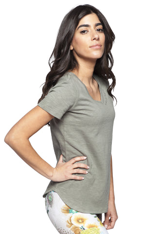 light olive cotton v-neck tee shirt