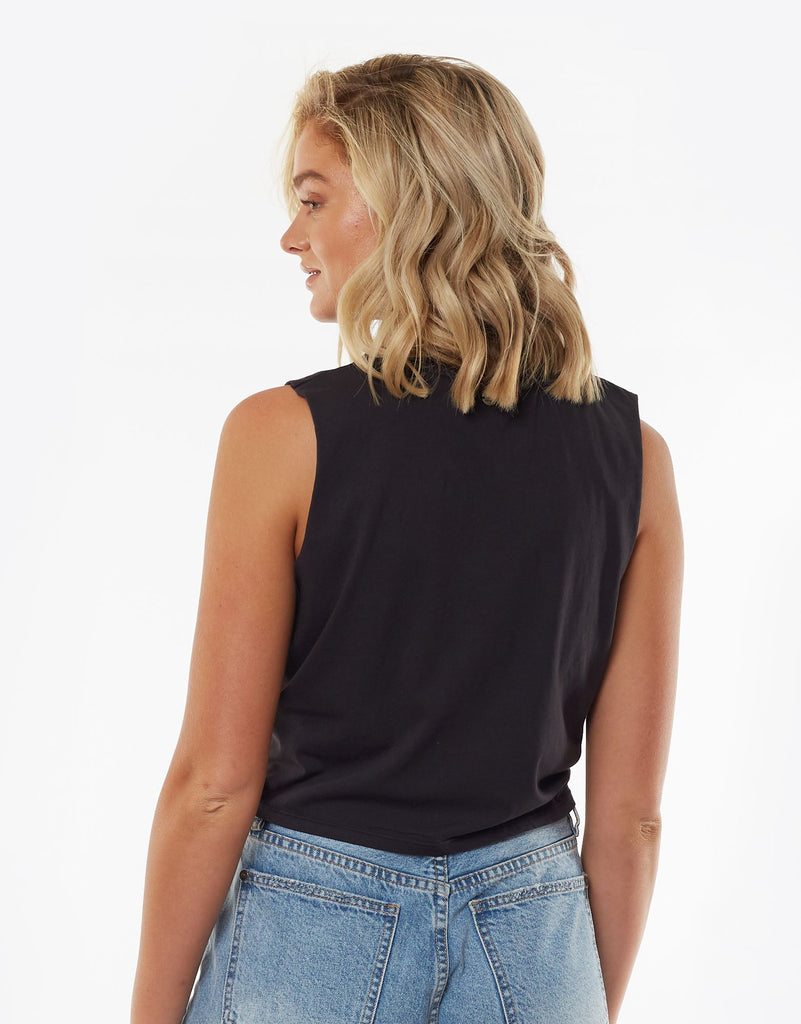 LANTERN KNOT MUSCLE TEE - WASHED BLACK