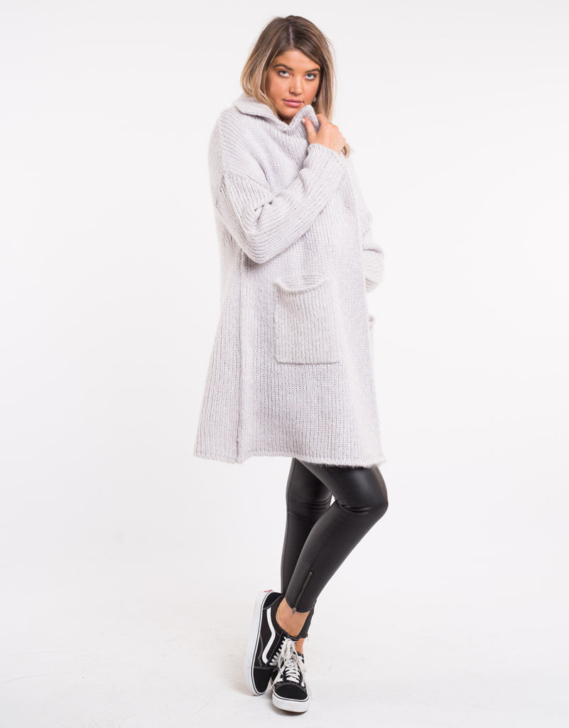 HERITAGE COATIGAN - GREY MARLE