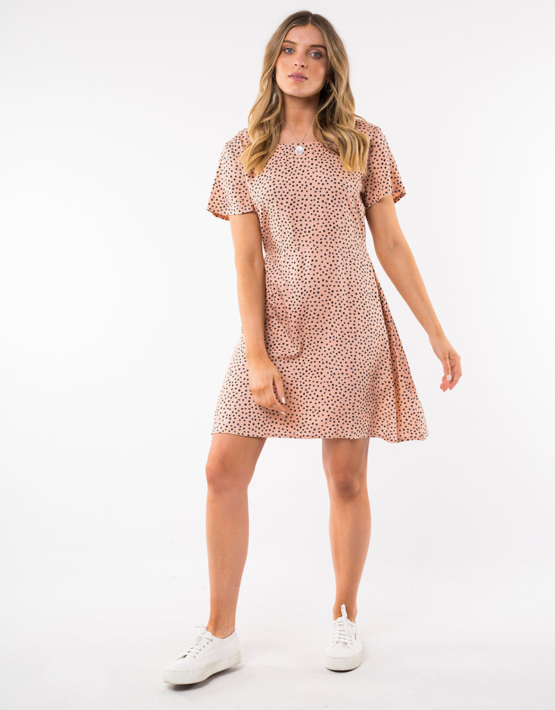 PAINTED DOT FIT AND FLARE DRESS - TAN