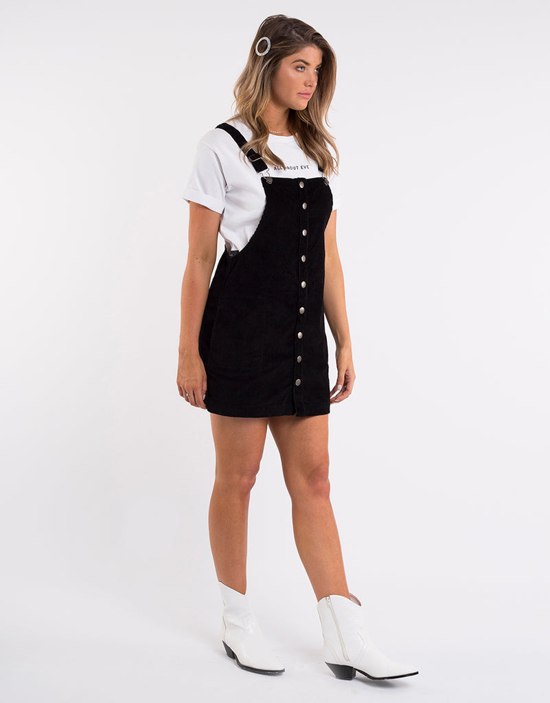 CLARA CORD PINAFORE - BLACK