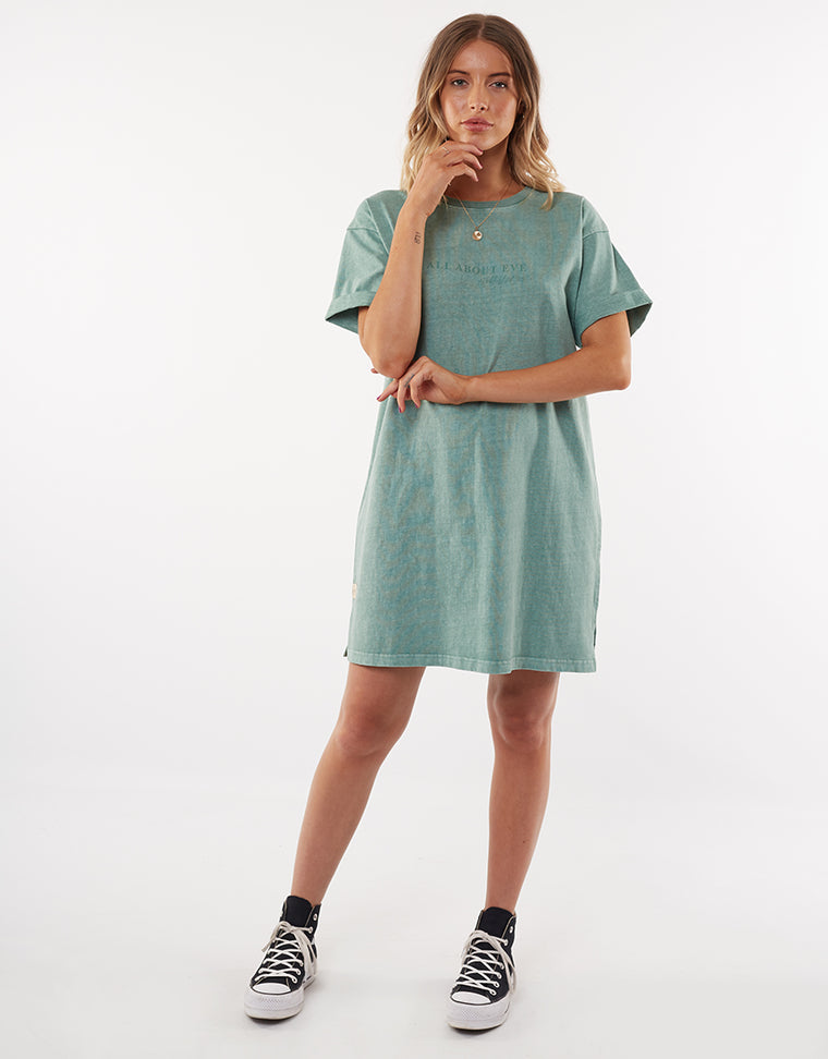 All About Eve Washed Tee Dress Green