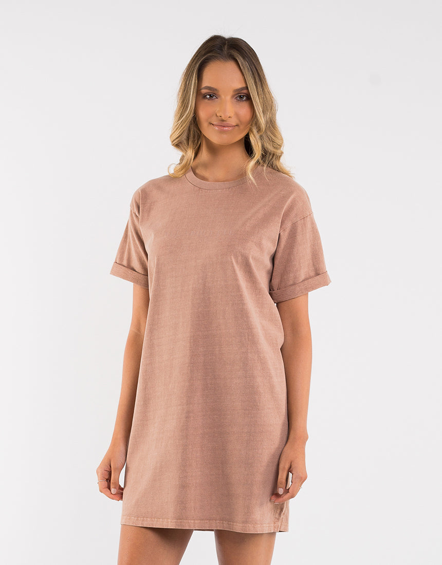 All About Eve Clothing AAE WASHED TEE DRESS - TAN