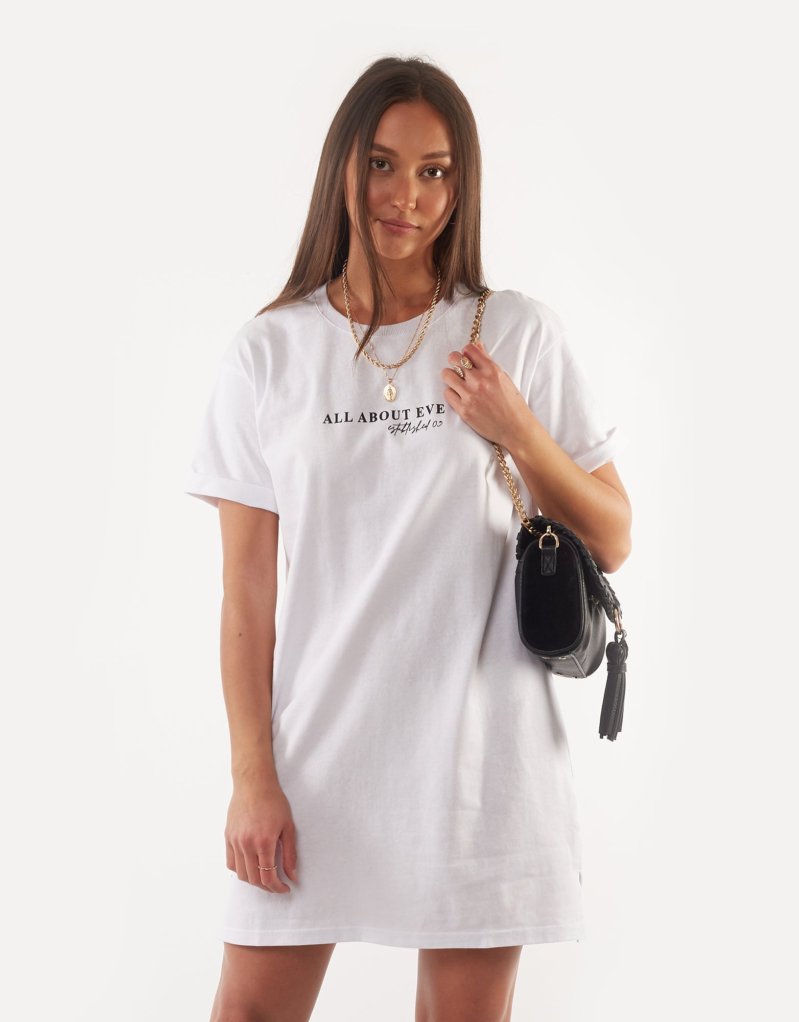 All About Eve Clothing AAE WASHED TEE DRESS - WHITE