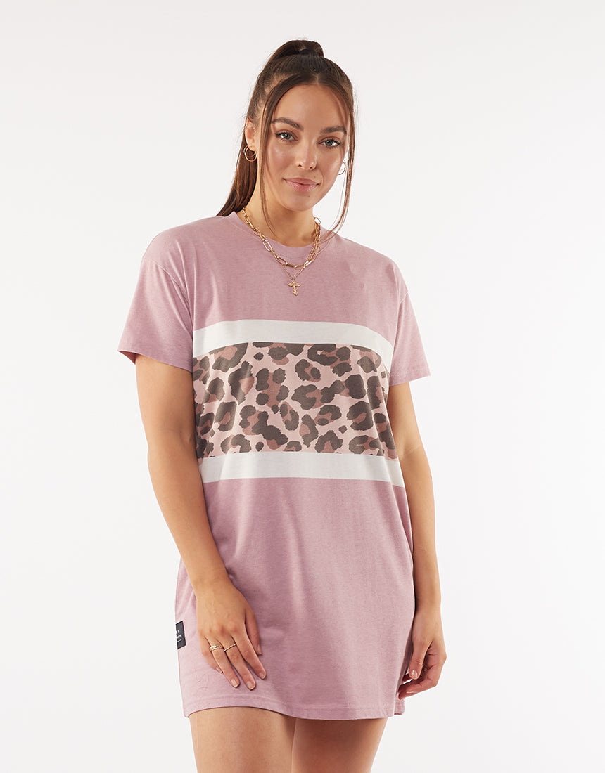 All About Eve Clothing LEOPARD PANEL TEE DRESS - PINK