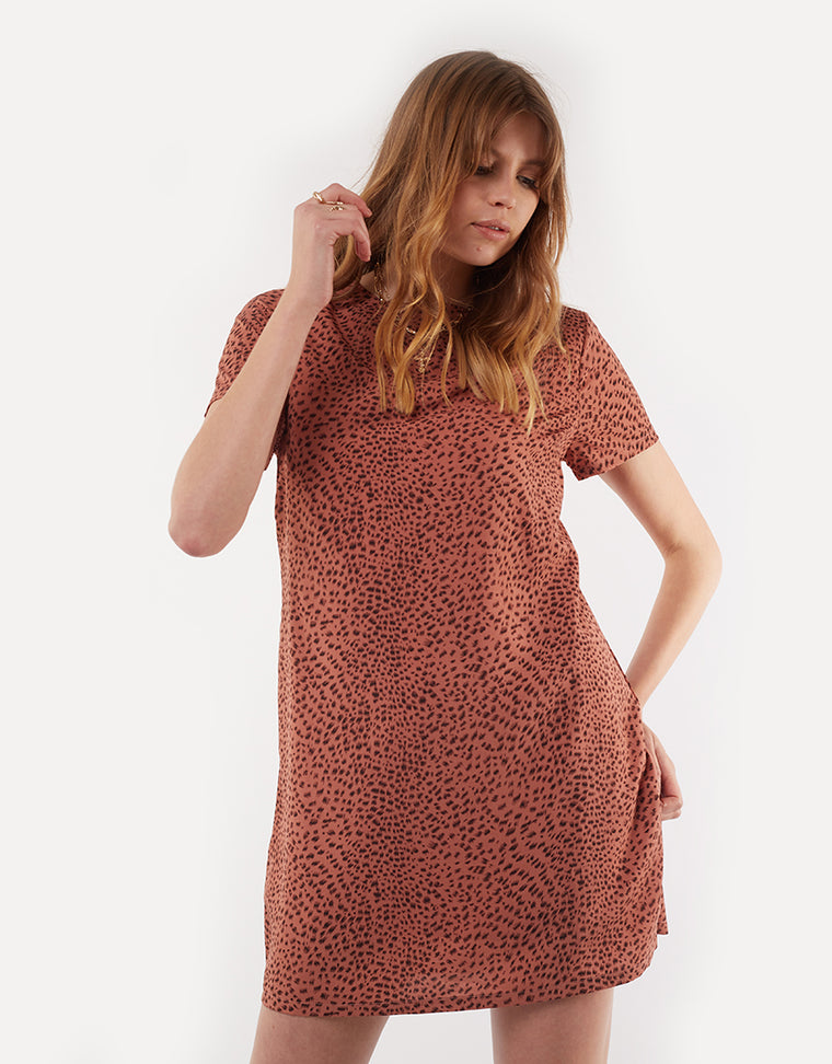ROAMING SHIFT DRESS - ROAMING RUST