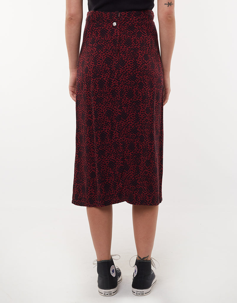 VENOM SPLIT MIDI SKIRT - ABSTRACT SNAKE PRINT