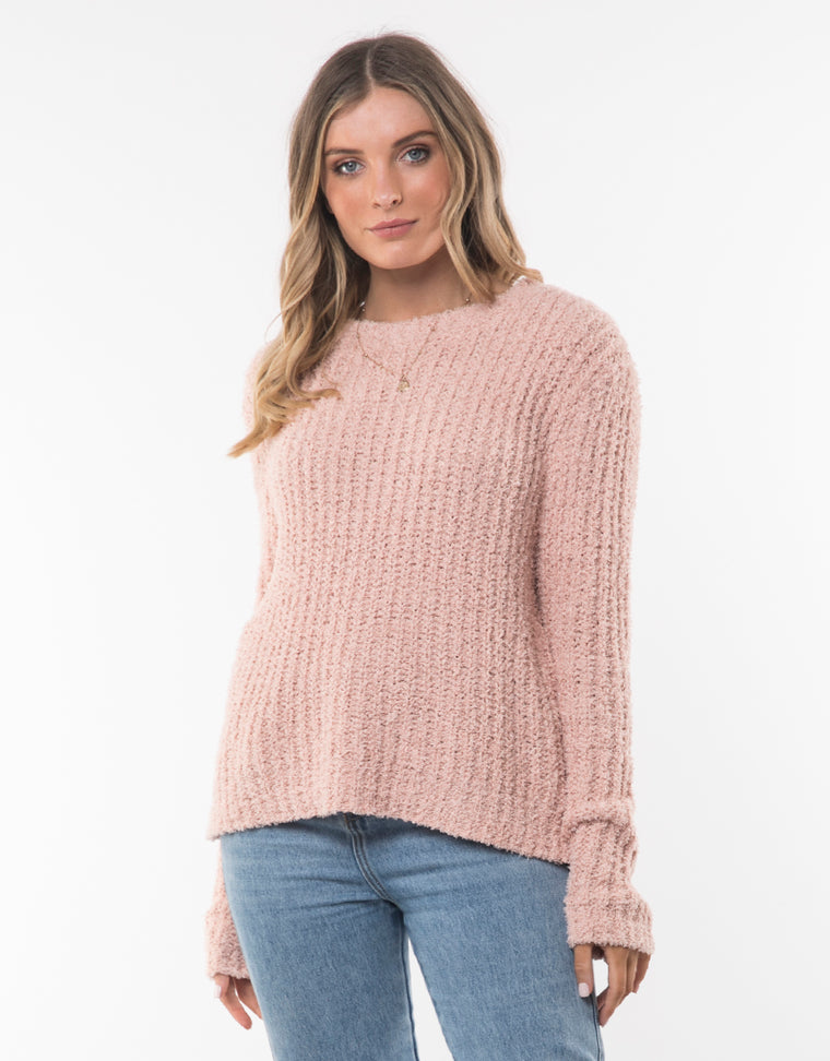 FLUTTER CREW KNIT - NUDE