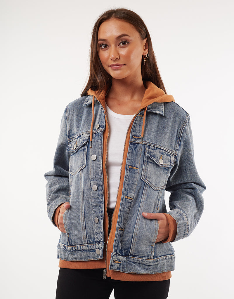 LAYERED DENIM JACKET - MULTICOLOURED