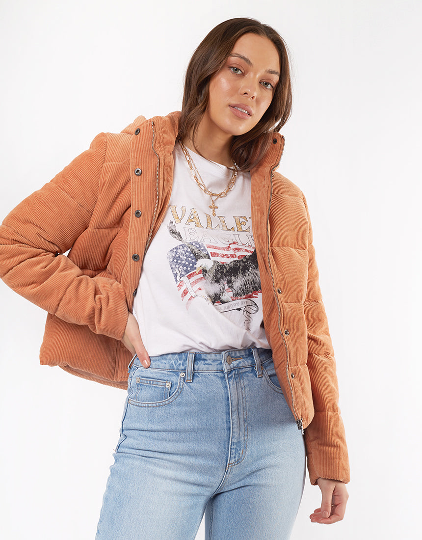 All About Eve Clothing CALI CORD PUFFER - TAN