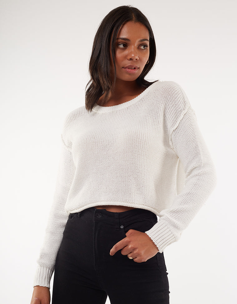CAMILLA CROPPED KNIT - BONE